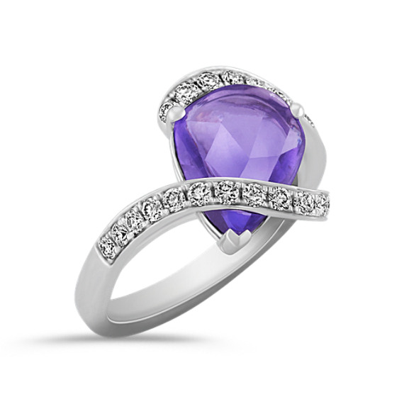 Freeform Lavender Sapphire and Round Diamond Swirl Ring