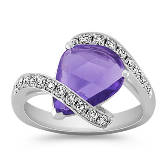 Freeform Lavender Sapphire and Round Diamond Swirl Ring