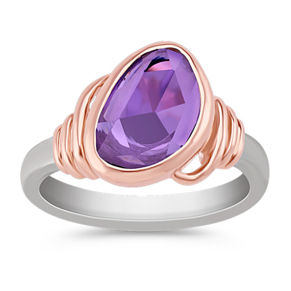 Freeform Lavender Sapphire Ring in 14k Rose and White Gold