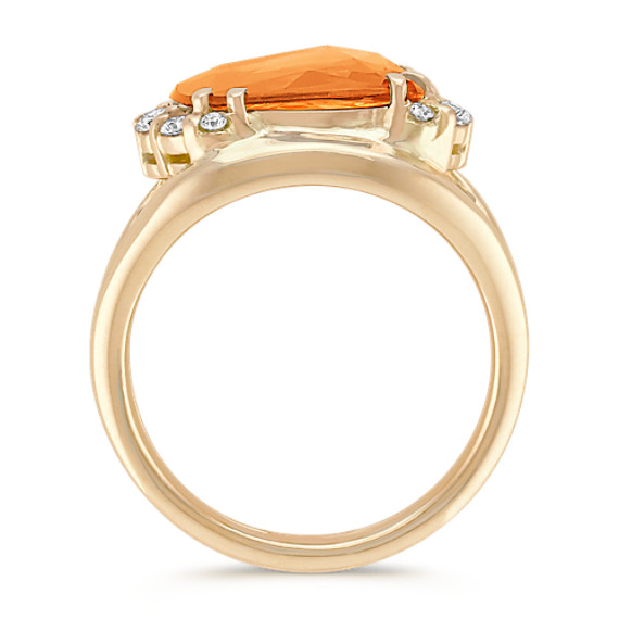 Freeform Orange Sapphire and Round Diamond Ring