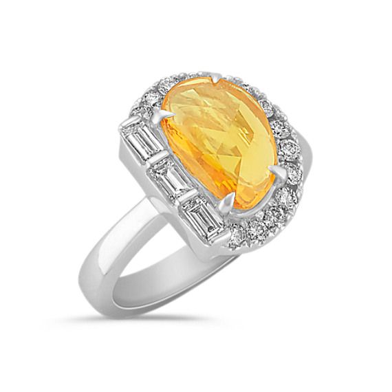 Freeform Orange Sapphire, Baguette and Round Diamond Ring