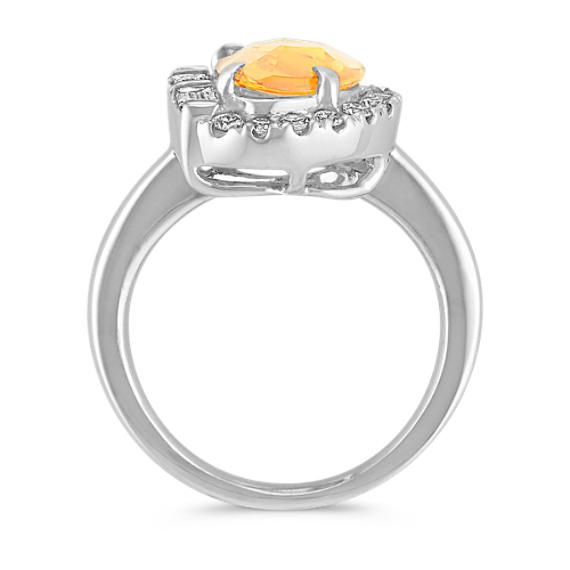 Freeform Orange Sapphire, Baguette and Round Diamond Ring