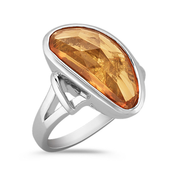 Freeform Orange Sapphire, Princess Cut and Marquise Diamond Ring