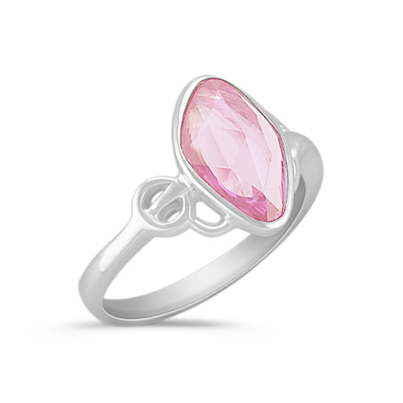 Freeform Pink Sapphire Ring with Bezel Setting