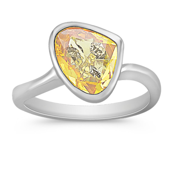 Freeform Yellow Sapphire and Round Diamond Ring