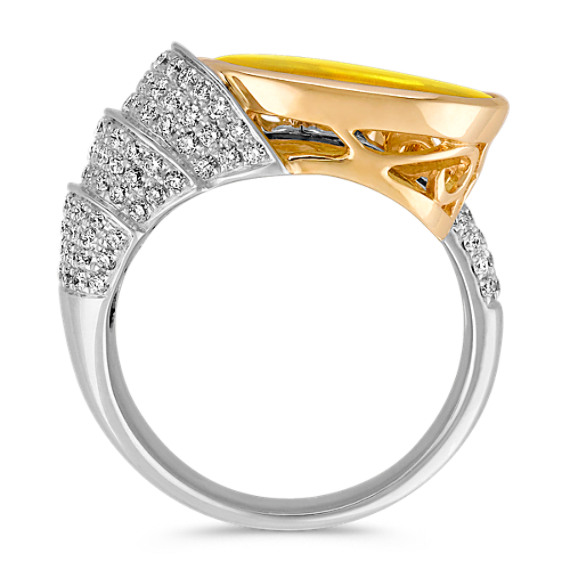 Freeform Yellow Sapphire, Half-Moon Sapphire and Diamond Ring in Two-Tone Gold