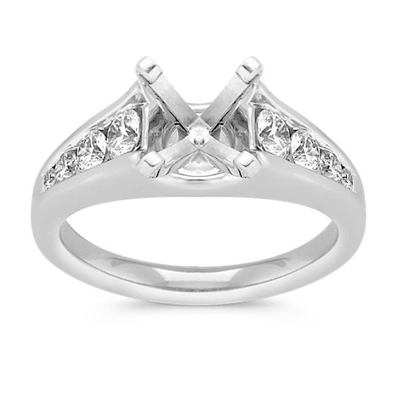 Graduated Channel-Set Round Diamond Engagement Ring