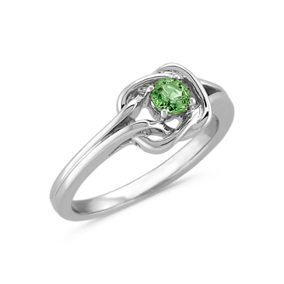 Green Sapphire Knot Ring in Sterling Silver