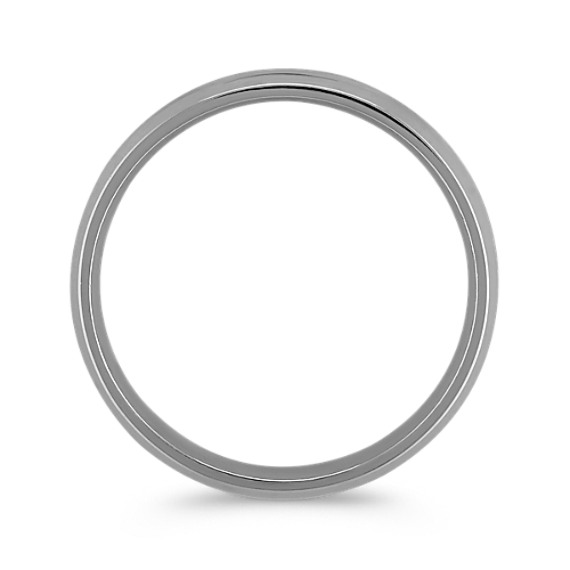 Grooved Comfort Fit 14k White Gold Ring with Brushed Finish (6mm)