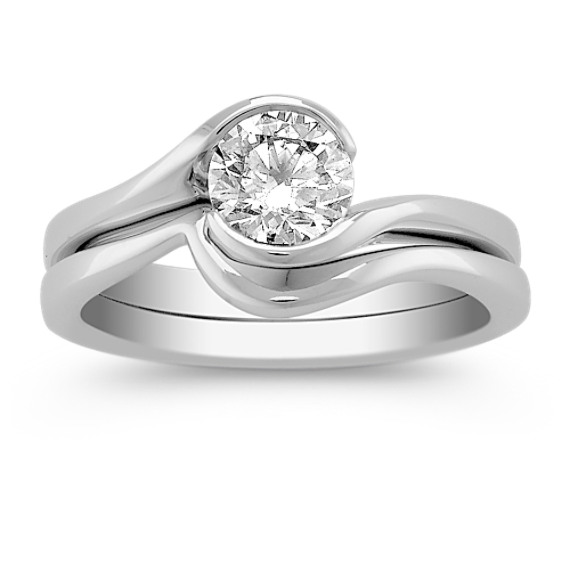 Half Bezel-Set Round Diamond Wedding Set
