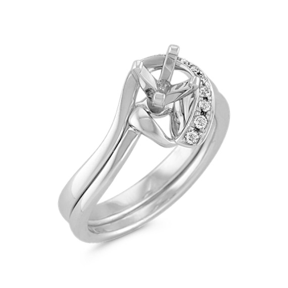 Half Heart Swirl Diamond Wedding Set with Pavé Setting in White Gold