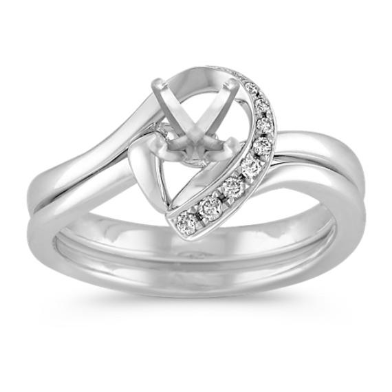 Half Heart Swirl Diamond Wedding Set with Pavé Setting in White Gold