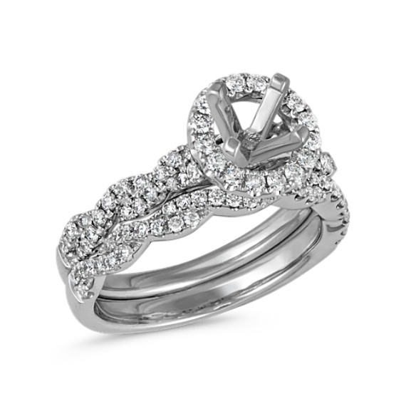 Halo and Infinity Diamond Wedding Set