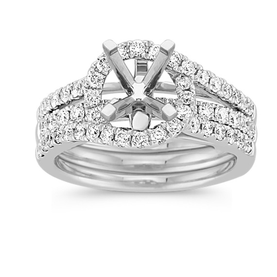 Halo and Swirl Diamond Wedding Set