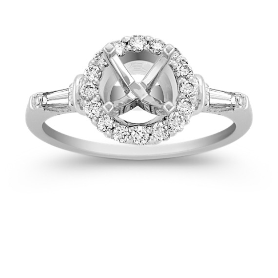 Halo Baguette and Round Diamond Platinum Engagement Ring