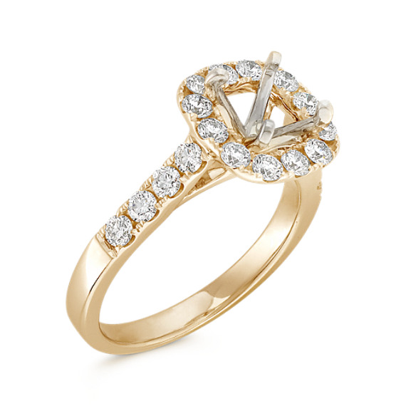 Halo Cathedral Diamond Engagement Ring In Yellow Gold At Shane Co