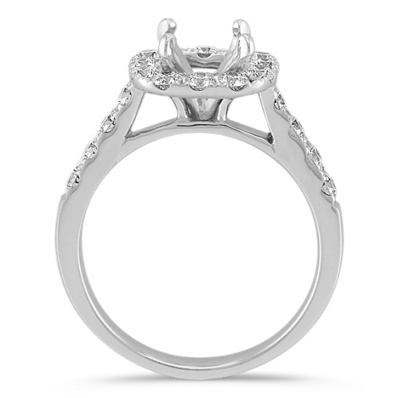 Halo Cathedral Engagement Ring with Pavé Set Diamonds