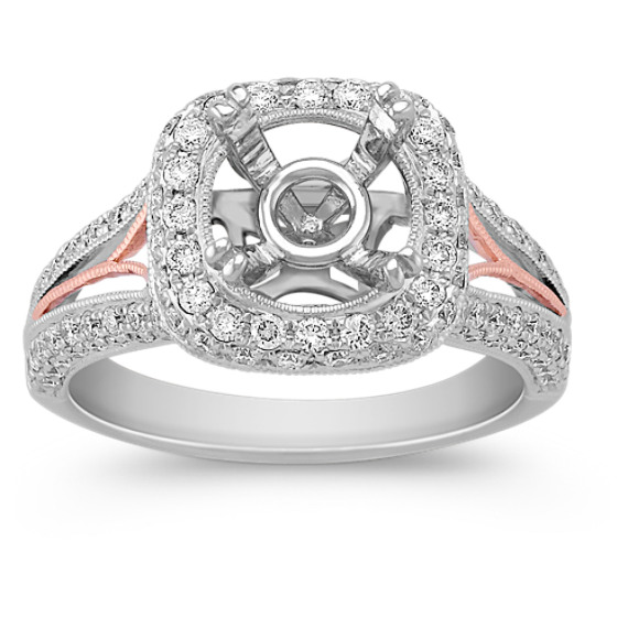 Halo Diamond 14k White and Rose Gold Engagement Ring with Pavé Setting