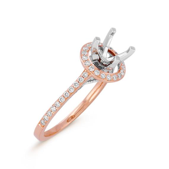 Halo Diamond 14k White and Rose Gold Engagement Ring