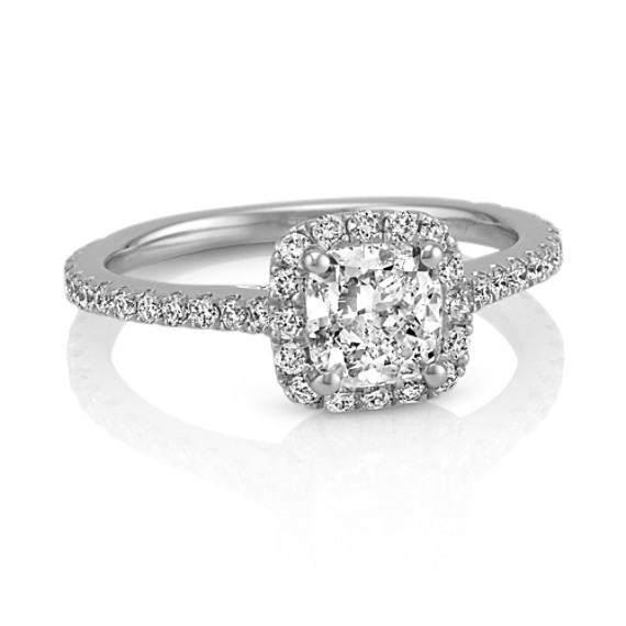 Halo Diamond Engagement Ring for 0.75 Carat Cushion Cut