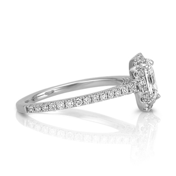 Halo Diamond Engagement Ring for 0.75 Carat Emerald Cut