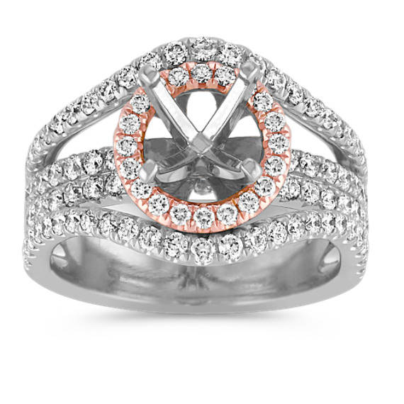 Halo Diamond Engagement Ring in 14k Rose and White Gold