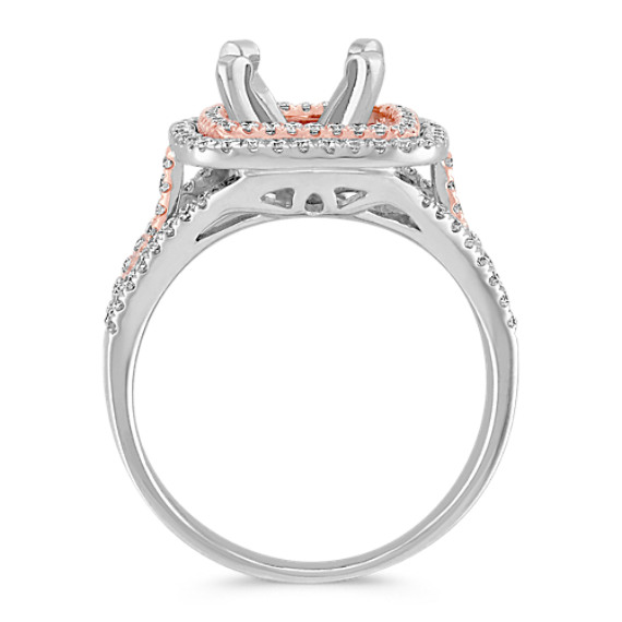 Halo Diamond Engagement Ring in 14k White and Rose Gold