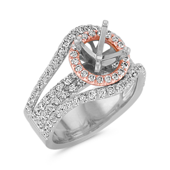 Halo Diamond Engagement Ring in Rose and White Gold with Pavé Setting