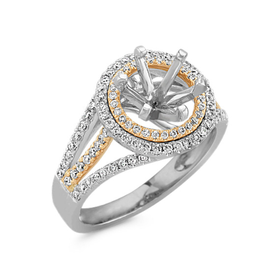 Halo Diamond Engagement Ring in Two-Tone Gold with Pavé Setting