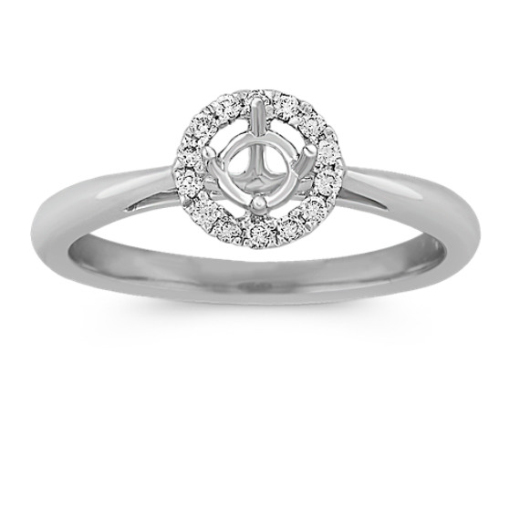 Halo Diamond Engagement Ring on Polished Band