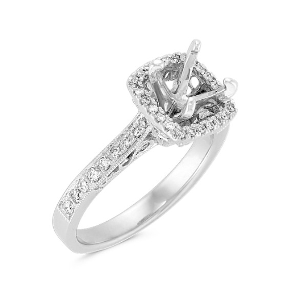 Halo Diamond Engagement Ring with Filigree