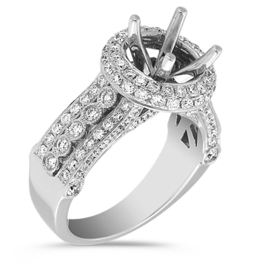 Halo Diamond Engagement Ring with Pavé and Bezel Setting