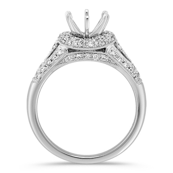 Halo Diamond Platinum Engagement Ring with Pavé-Setting