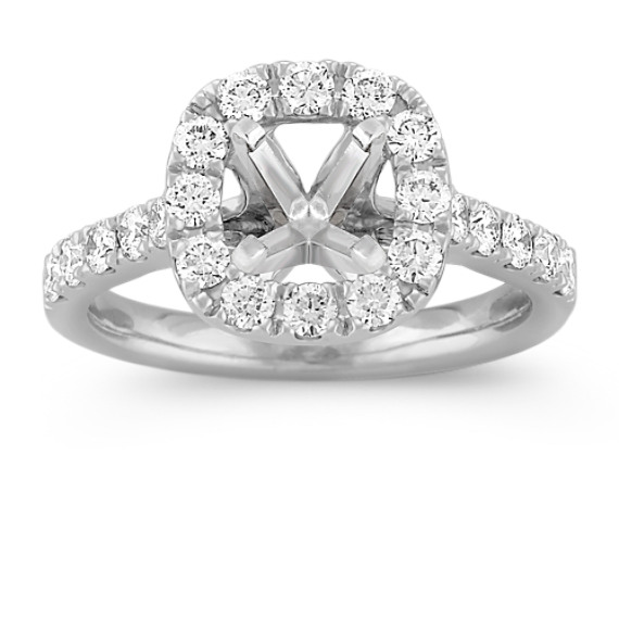 Halo Diamond Platinum Engagement Ring with Pavé Setting