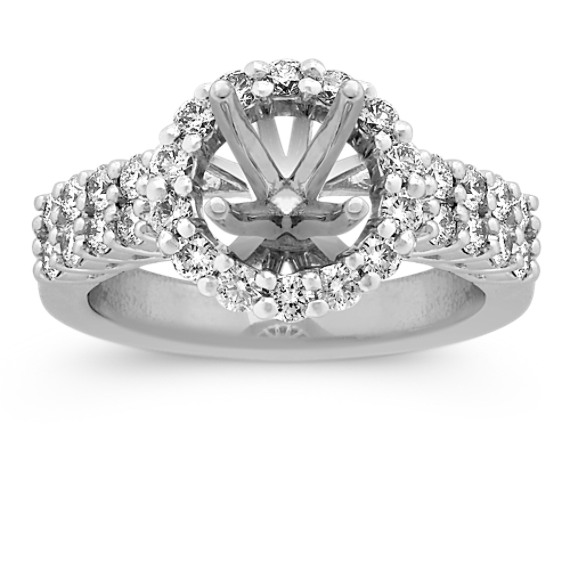 Halo Diamond Platinum Engagement Ring