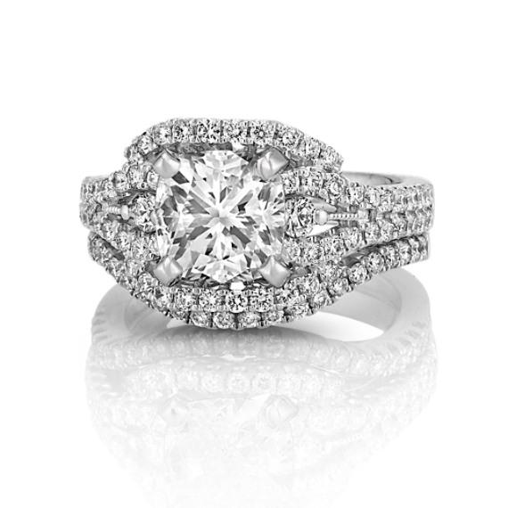 Halo Diamond Platinum Wedding Set with Pavé Setting
