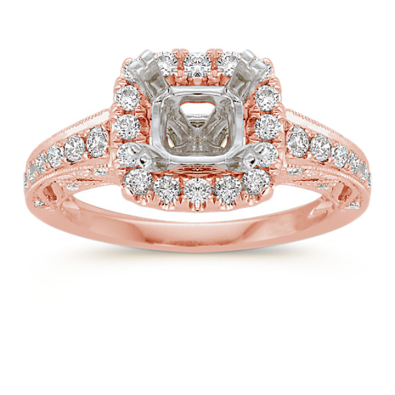 Halo Diamond Rose Gold Engagement Ring