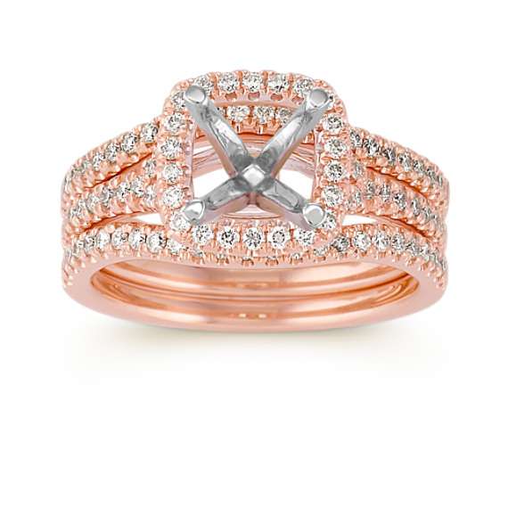 Halo Diamond Rose Gold Wedding Set with Pavé Setting
