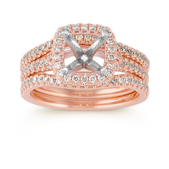 Halo Diamond Rose Gold Wedding Set with Pavé Setting