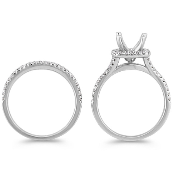 Halo Diamond Split Shank Wedding Set with Pavé Setting