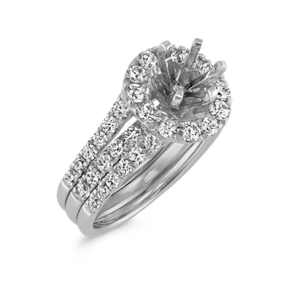 Halo Diamond Wedding Set in 14k White Gold