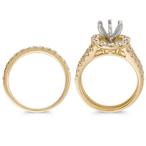 Halo Diamond Wedding Set in 14k Yellow Gold