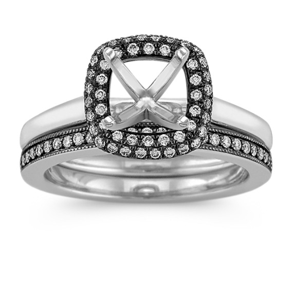 Halo Diamond Wedding Set with Black Rhodium and Pavé Setting