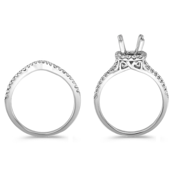 Halo Diamond Wedding Set with Pavé Set Round Diamonds