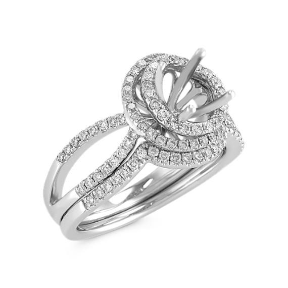 Halo Diamond Wedding Set with Pavé Setting