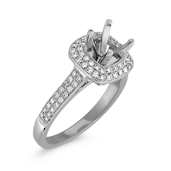 Halo Double Lined Diamond Platinum Engagement Ring