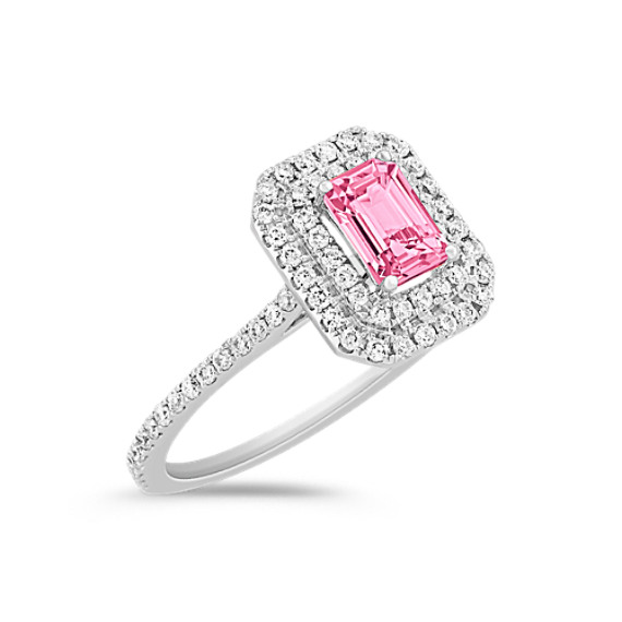 Halo Emerald Cut Pink Sapphire and Round Diamond Engagement Ring