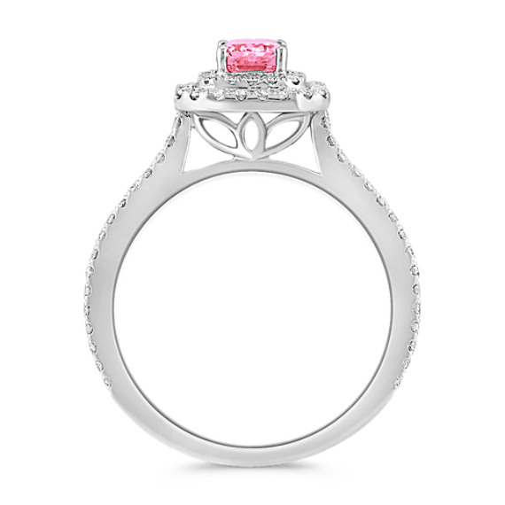 Halo Emerald Cut Pink Sapphire and Round Diamond Ring