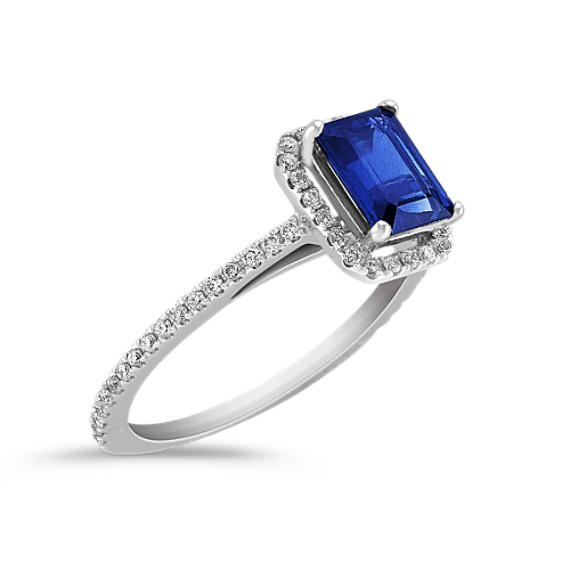 Halo Emerald Cut Sapphire and Round Diamond Engagement Ring with Pavé Setting