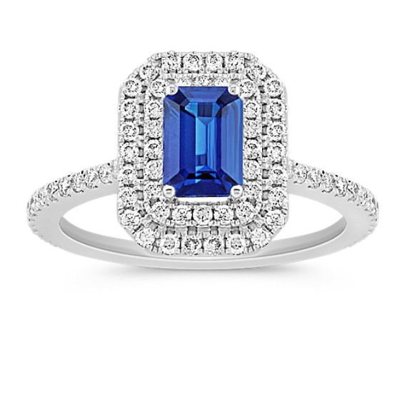 Halo Emerald Cut Sapphire and Round Diamond Ring